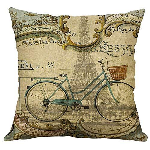 (Littay Pillowcase Eiffel Tower Cotton Linen Pillow Case Sofa Waist Throw Cushion Cover Home)