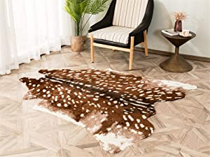 "Sika Deer Print Faux Cowhide Skin Area Rug Animals Mat Carpet for Home, Office Livingroom, Bedroom (59""x70.8"")"