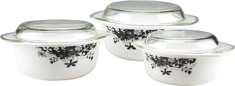 1.5L /& 2.5L Round Glass Casserole Set With Lids Opal Glassware Black//White Flowera Occasions 3pc Glass Casserole Dish With Lids 1L