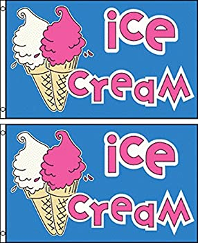 Ice Cream Polyester Flag Banner Sign (Pack of 2)