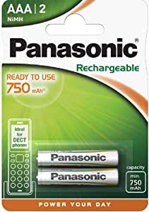 Panasonic - Pilas recargables (750 mAh,NiMH, P03 HR03, Micro AAA, 2 unidades): Amazon.es: Electrónica