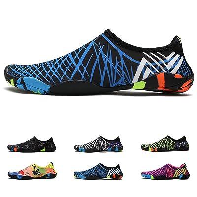 "Anti-Slip Water Shoes for Men Women Little Kid, Barefoot Shoes Quick Dry (13US Women/12US Men=11.7"" Foot, Blue Strips) | Water Shoes"