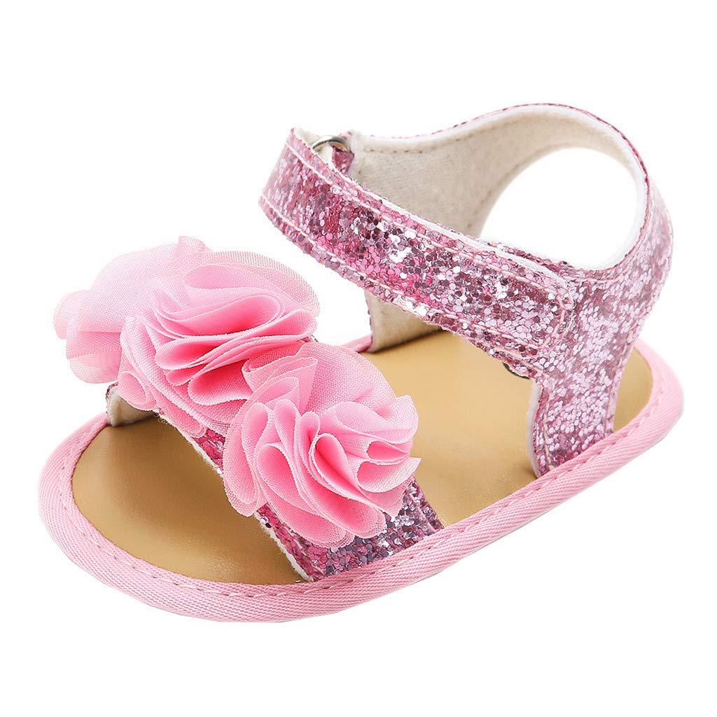 XKSIKjian Lovely Bowknot Hollowed Newborn Baby Summer Sandals Footwear Toddler Soft Shoes Khaki Stripes 12-18 M