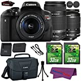 Canon EOS Rebel T6i DSLR Camera with Canon EF-S 18-55mm f/3.5-5.6 IS STM Lens + Canon EF-S 55-250mm f/4-5.6 IS STM Lens + 2 Pieces 32GB SD Memory Card + Canon Bag + Cleaning Kit