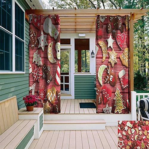 leinuoyi Gingerbread Man, Outdoor Curtain Set, Variety of Christmas Cookies on Wooden Table Traditional Sugary Treats, Outdoor Curtain Panels for Patio Waterproof W108 x L108 Inch Red Brown White