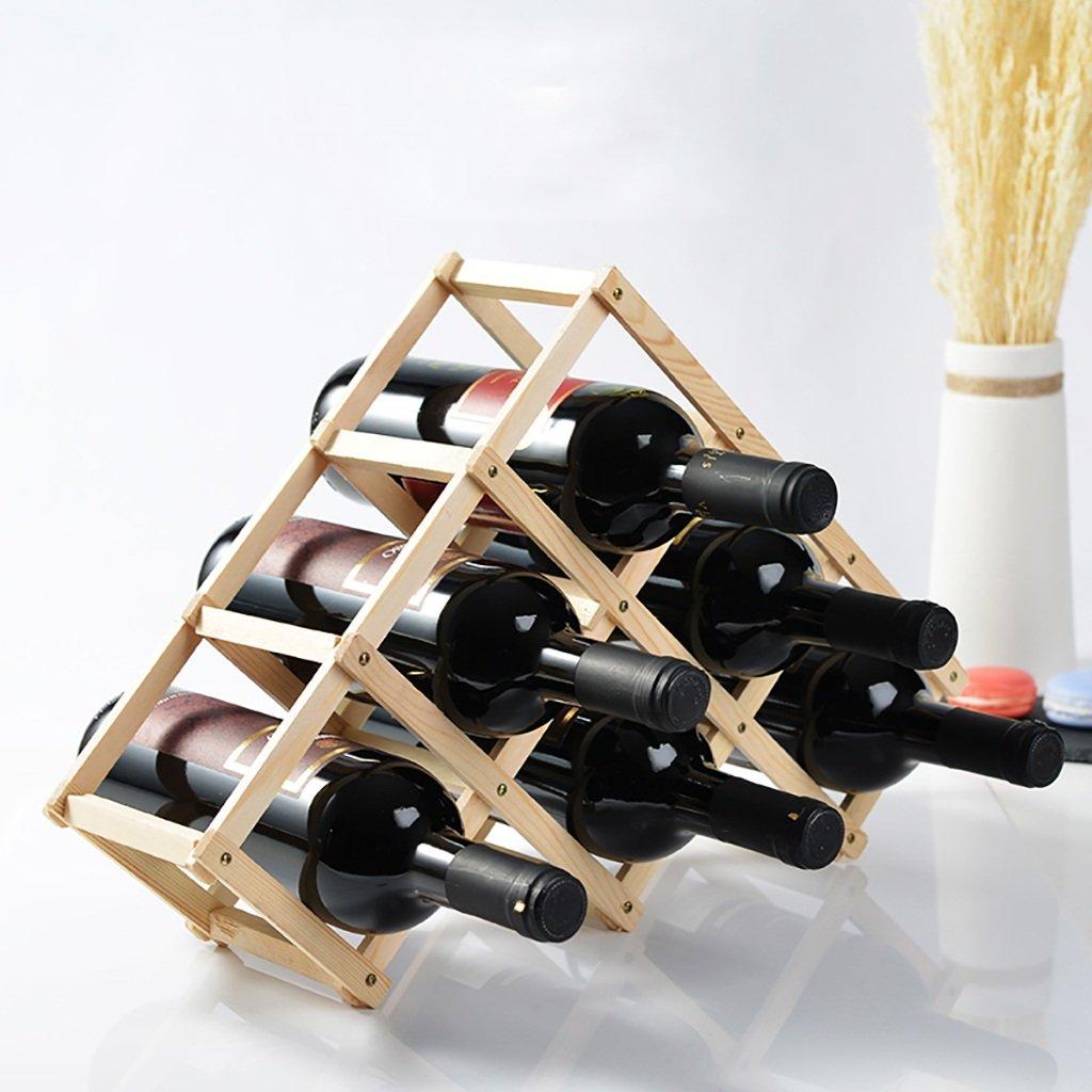 Estantería de vino Estante del vino de madera real vino en el estante del vino estante del vino botella multi-botella estante del vino creativo plegable Set ...