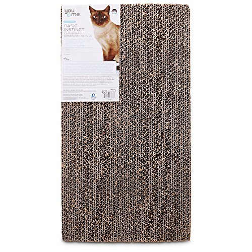You&Me Double Wide Cardboard Cat Scratcher Refills, 2 Pack, 18 in, Brown