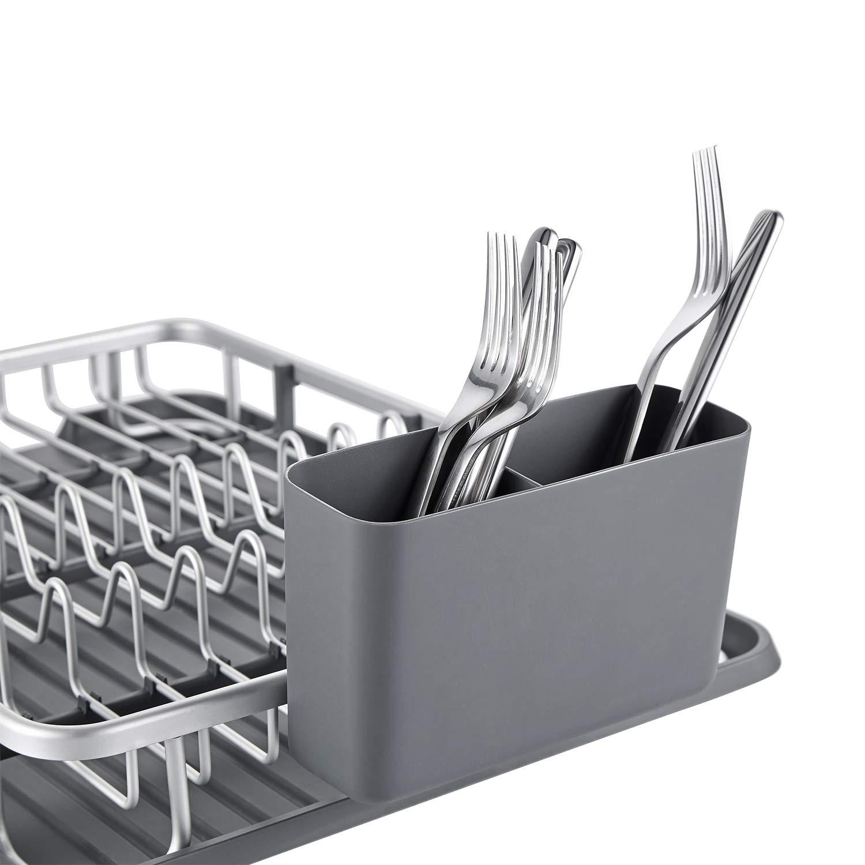 kingrack escurreplatos Recipiente para Lavar Platos de Aluminio escurridor de Platos de Cocina wkuk112055 Rejilla para Lavar Platos con Soporte para Utensilios de Cocina