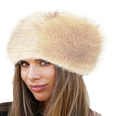 b1f53819 Women's Faux Fur Winter Warm Russian Style Cossack Fluffy Ball Ski Cap Ear  Warmer Hat UK Stock (Beige): Amazon.co.uk: Clothing