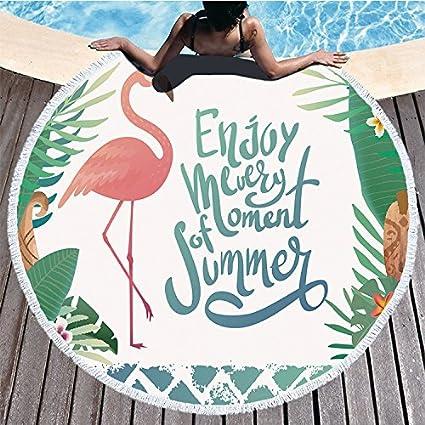 085e79f4f1815 X Hot Popcorn 59 Inches Flamingo Round Beach Towel with Tassel Microfiber  Sunbathe Bath Towels Throw