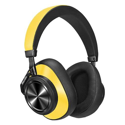 Bluedio T6 Turbine Auriculares Bluetooth 5 0 reducción Activa de Ruido micrófono estéreo inalámbrico Llamadas Graves y Agudos Auriculares con Orejeras cómodas Amarillo