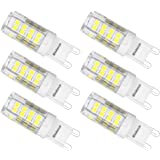 G9 LED Bulb Kakanuo 4W Daylight White 6000K 40W Halogen Bulbs Equivalent 360 Lumens Non-Dimmable G9 Base Corn Light AC220-240V 51x2835SMD (Pack of 6)
