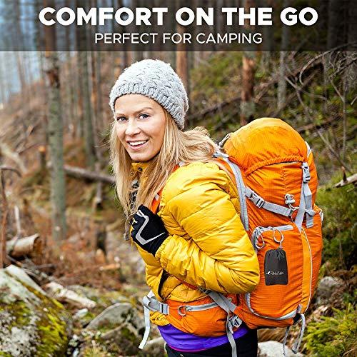 RikkiTikki Inflatable Travel Pillow – Camping Outdoor Backpacking Pillow – Portable Blow Up Ultralight Air Pillow – Inflating Comfortable Compact Lightweight Compressible Pillow for Women Men