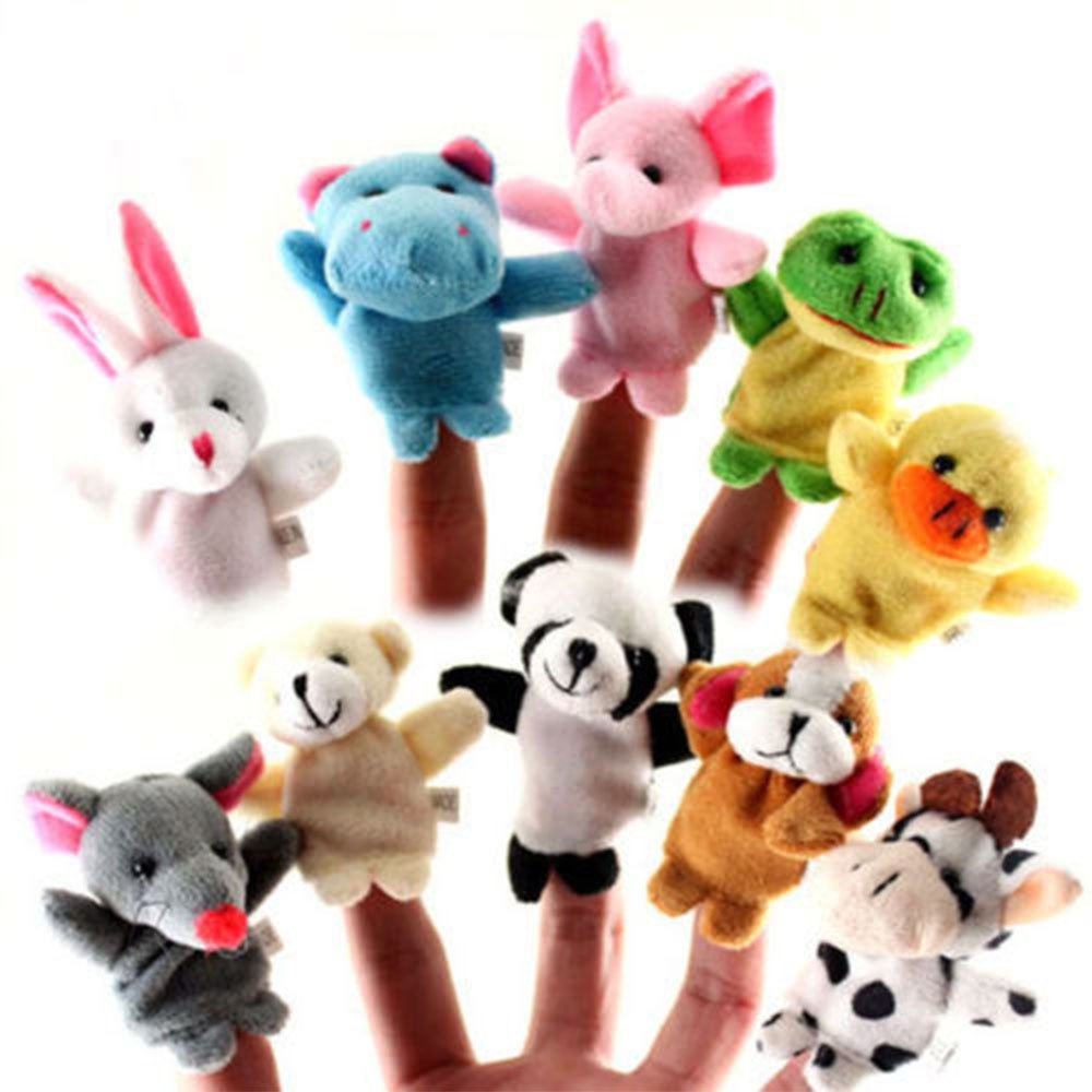 Denshine Finger Puppets, Different Cartoon Animal Finger Puppets Finger Puppets Set for Kids Cute Velvet Soft Animal Finger Puppets Baby Story Time Finger Puppets for Toddlers(10 Pcs)
