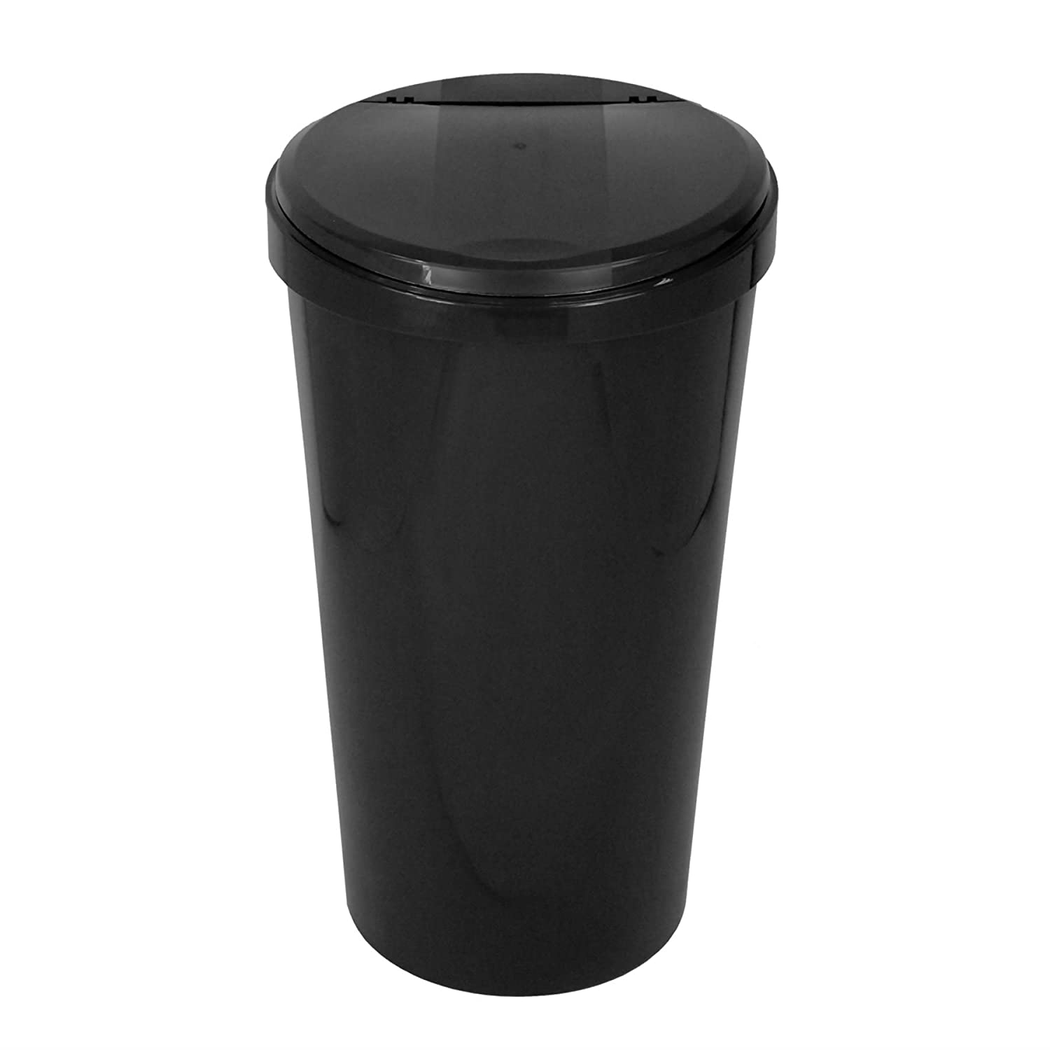 1 x Simpa® 45L 45 Litre Black Touch Top Kitchen Bin Dustbin Rubbish Bin Heavy Duty Gloss Plastic Finish Durable Design with Easy Open Touch Top Lid.