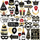 UNOMOR 50th Birthday Photo Booth Props,Bronzing Birthday Party Props Kit for Birthday Decorations-44 Pieces