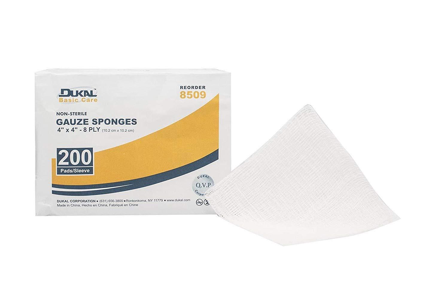 Dukal 8509 Gauze Sponge, 8-Ply, Non Sterile, Basic, 4'' x 4'' (Pack of 4000) by Dukal