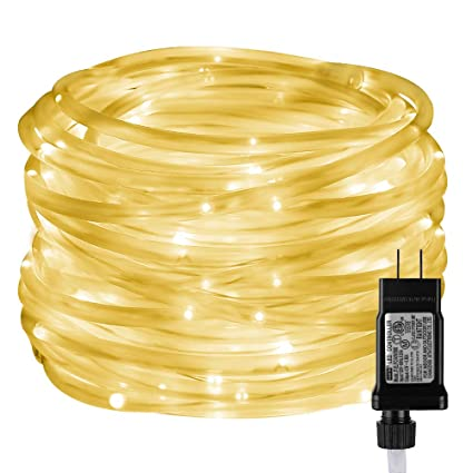 sale retailer e7d25 19f08 LE LED Rope Lights with Timer, 8 Modes, Low Voltage, Waterproof, Warm  White, 33ft 100 LED Indoor Outdoor Plug in Light Rope and String for Deck,  ...