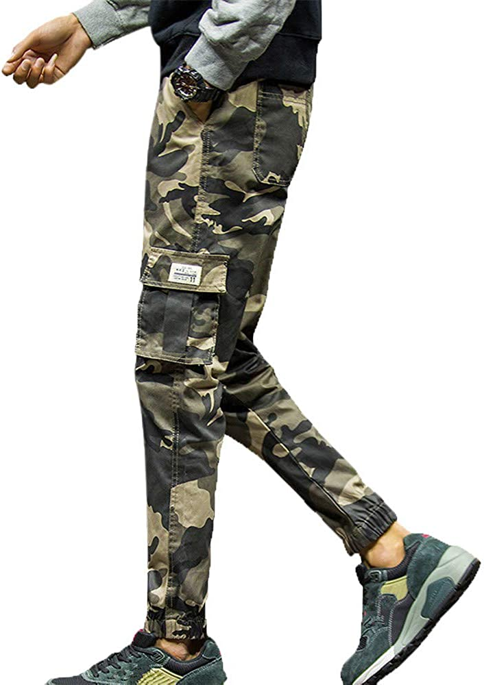 Overalls for Men Big and Tall,Mens Fashion Camouflage Pocket Nine Points Small Feet Looser Casual Pant,Women's Jeans,Khaki,M 61sxO48XQ-L