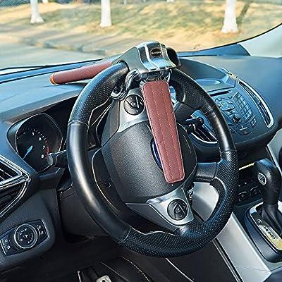 Blueshyhall Car Steering Wheel Lock, Anti-Theft Locking Devices Safety Hammer with 2 Keys, Universal for Auto Car Vehicle Truck SUV, Brown: Automotive