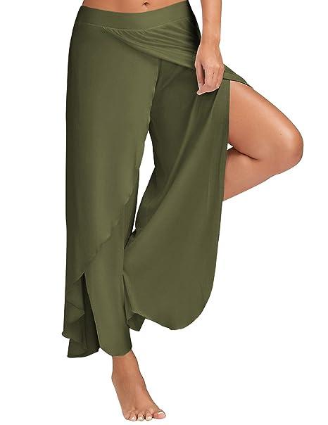 Amazon.com: Pantalones de yoga para mujer de alta división ...