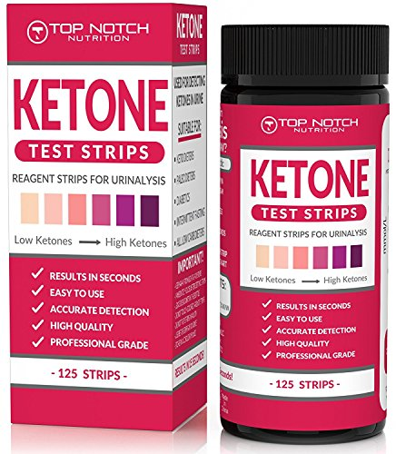 Ketone Test Strips for Testing Ketosis Levels in 15 Seconds Using Urinalysis. Accurate Results to Guarantee You Lose Weight & Feel Great on a Ketogenic, Diabetic, Paleo or Low Carb Diet-125 Strips
