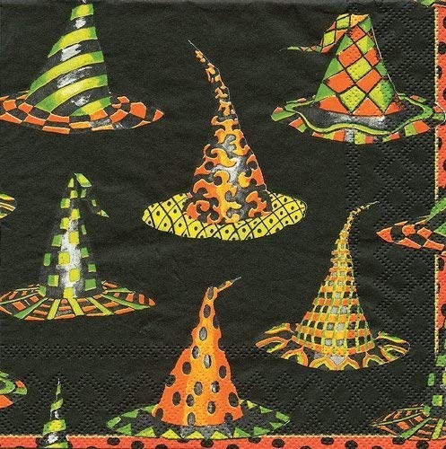 Halloween Party Supplies for Halloween Decorations Paper Cocktail Napkins Witch Hat, Pack of -