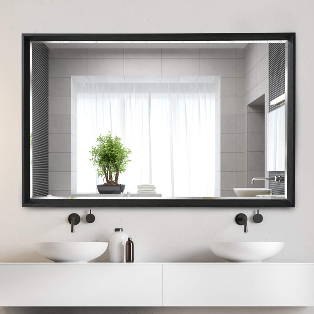 Bathroom mirror Simple Rectangular Wall Mirror | HD Silver Mirror + Composite Frame | Bathroom Makeup Mirror - Wash Basin Mirror (Large, 700×900 mm)