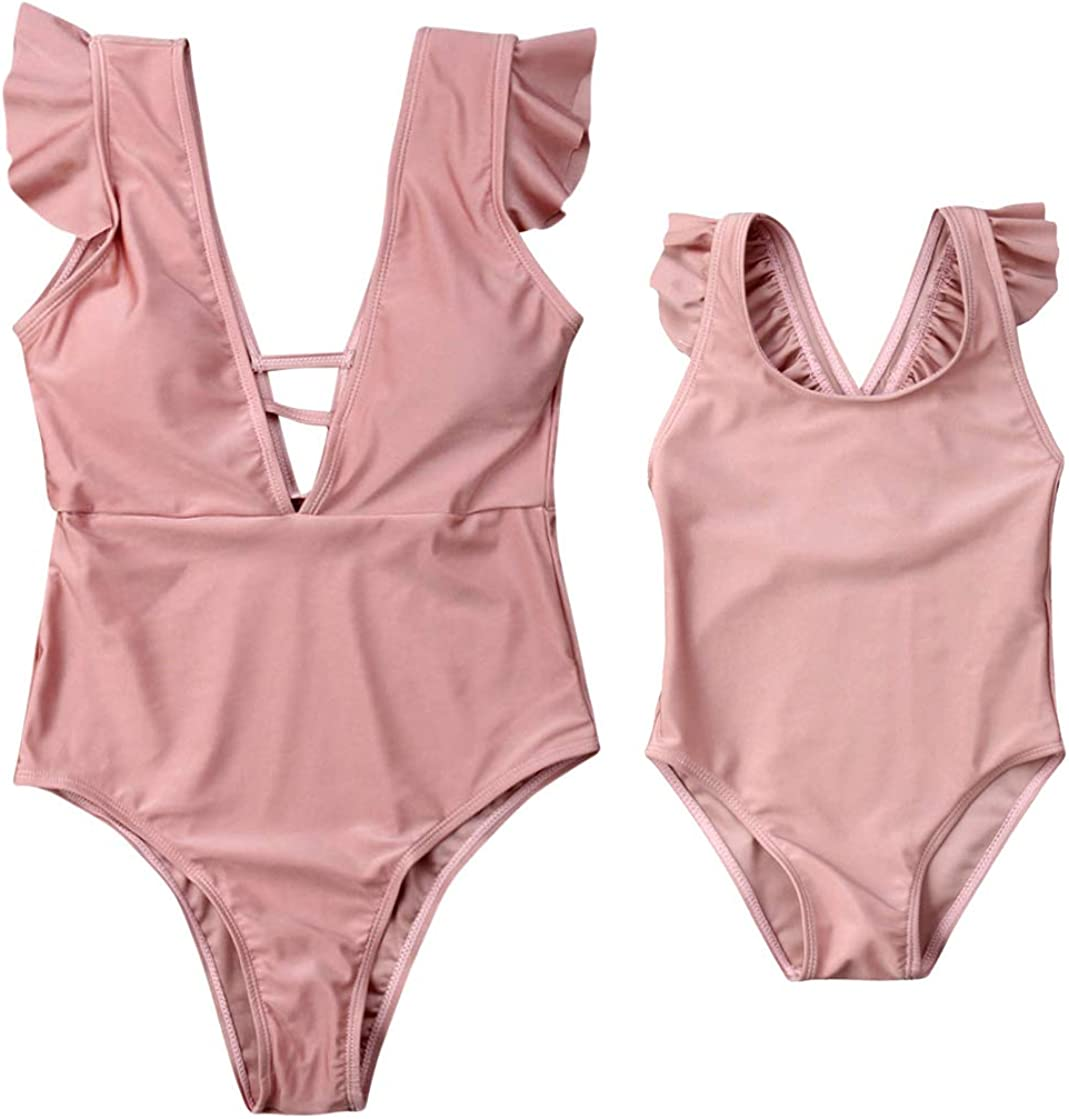 Mom/&Girl One Piece Solid Color Ruffles Sleeveless Pink Swimsuit Family Matching V-Neck O-Neck Open Back Bathing Suit
