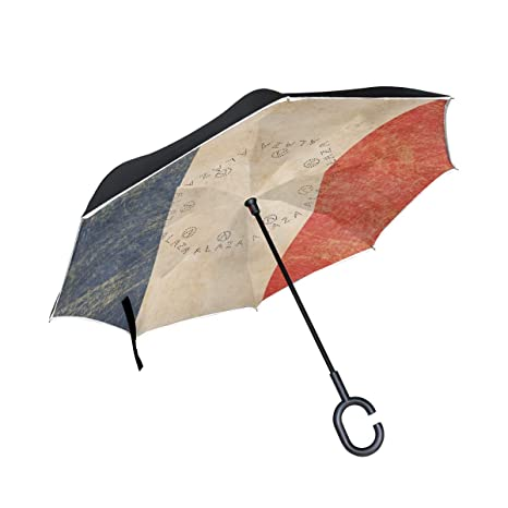 c71a1c4a85f9 Amazon.com : ONELUCA Vintage French Flag Car Reverse Golf Umbrellas ...
