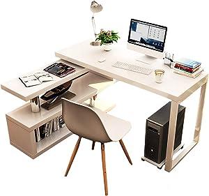 Rotatable Computer Desk Shelves, Multipurpose Corner Desk Home Office Writing Reading Desk L-Shaped Workstation-b 120x50cm/47.2x19.7inch
