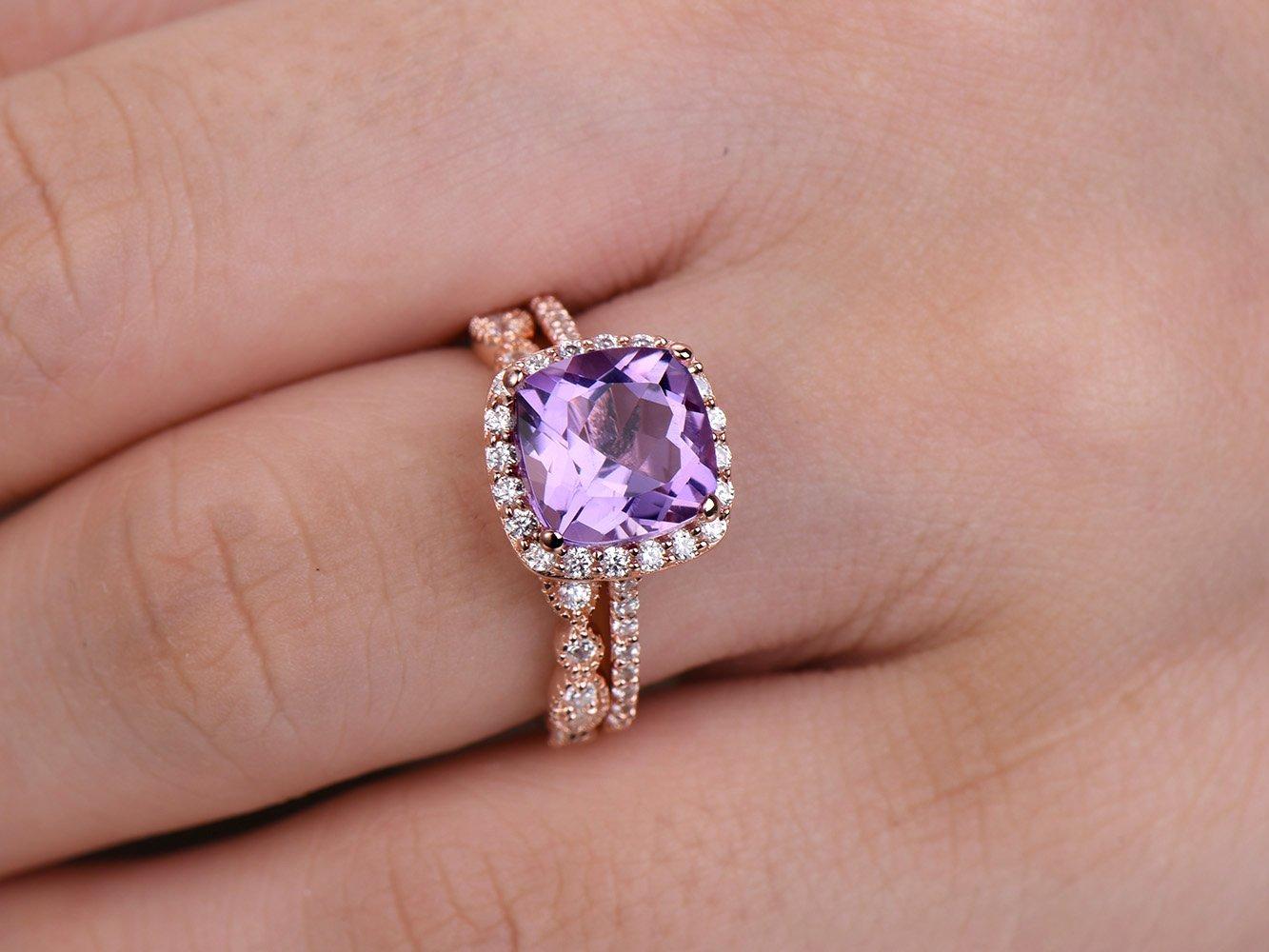 Amazon.com: 2pcs Amethyst wedding ring set!8mm Cushion Engagement ...