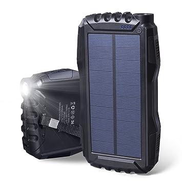 Elzle Cargador Solar 25000mAh Cargador Portátil Impermeable Power Bank con Paneles Solares Li-Polímero Batería Externa 2 USB Para Smartphone Tablet PC: ...