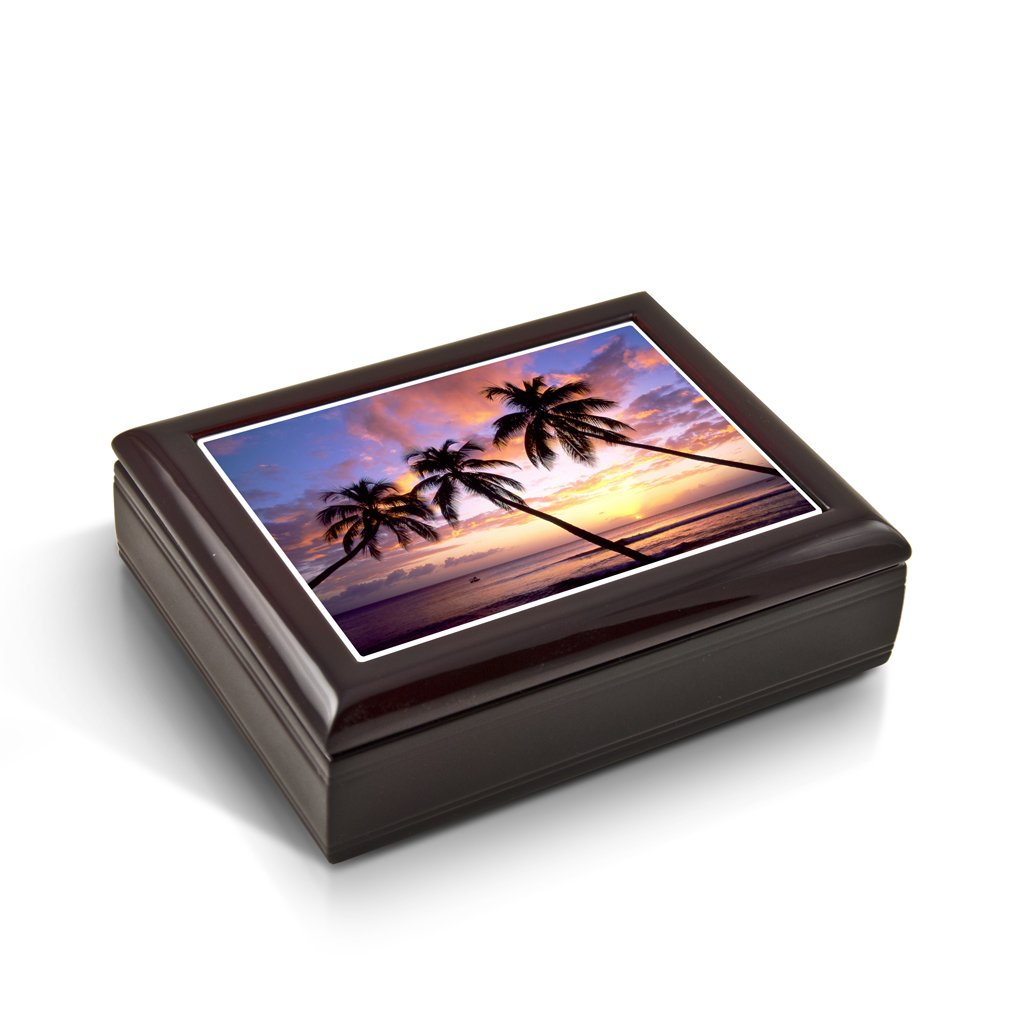 Majestic Palm Trees Florida Sunset Tile Musical Jewelry Box - Rock of Ages - Christian Version by MusicBoxAttic