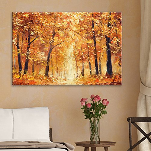 Abstract Yellow Oil Painting Style Trees in Forest
