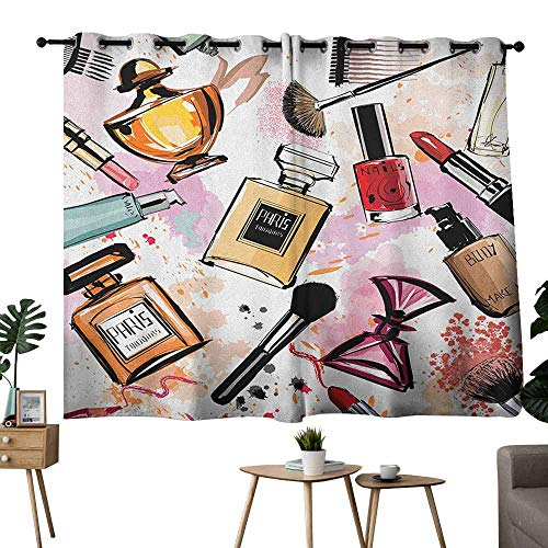 (Mannwarehouse Girls Noise Reduction Curtain Cosmetic and Makeup Theme Pattern with Perfume Lipstick Nail Polish Brush Modern Lady Set of Two Panels 63