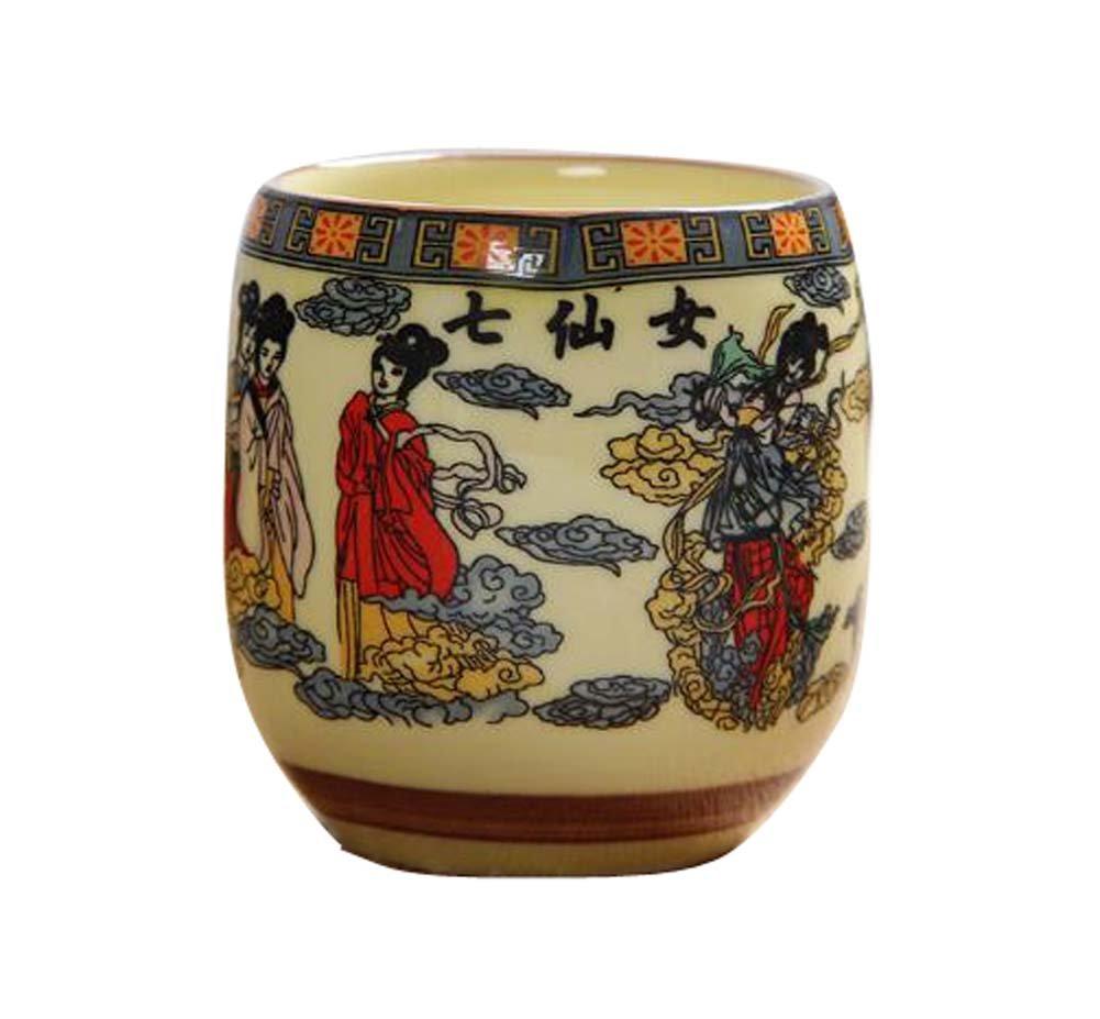 DRAGON SONIC Set Of 4 Retro Sake Cups Ceramics Cup Household Use/Restaurant Tea Cup-C4