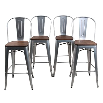 Admirable Haobo Home 30 High Back Barstools Metal Stool With Wooden Seat Set Of 4 Stackable For Indoor Outdoor Bar Stools Silver Machost Co Dining Chair Design Ideas Machostcouk