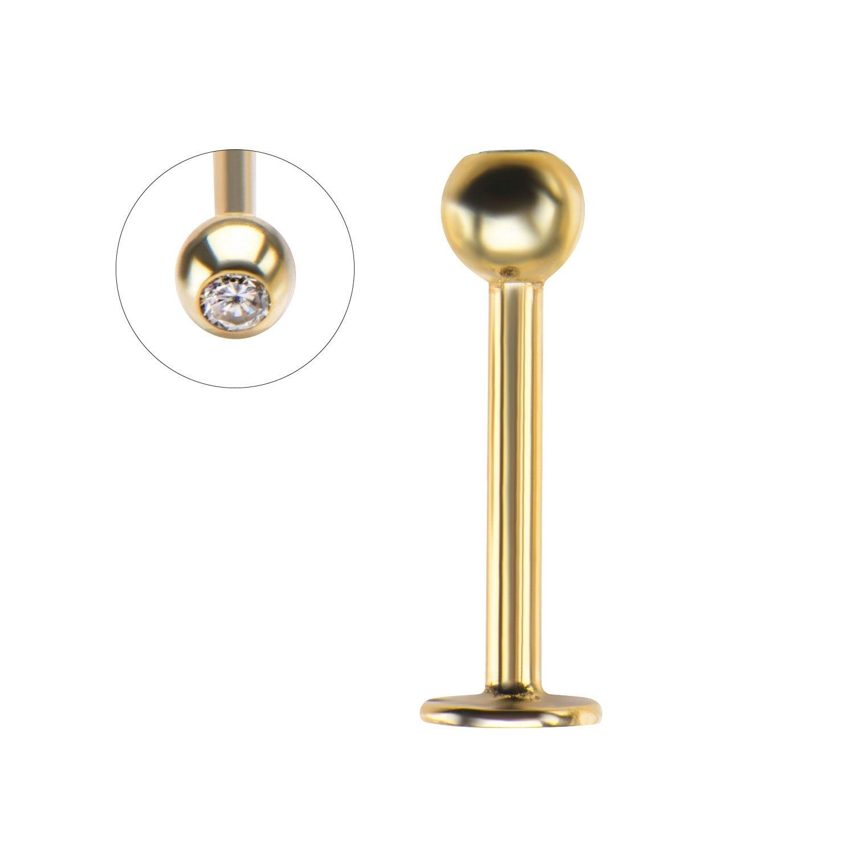 GranTodo 14kt Gold Labret Stud With Gem Ball Top