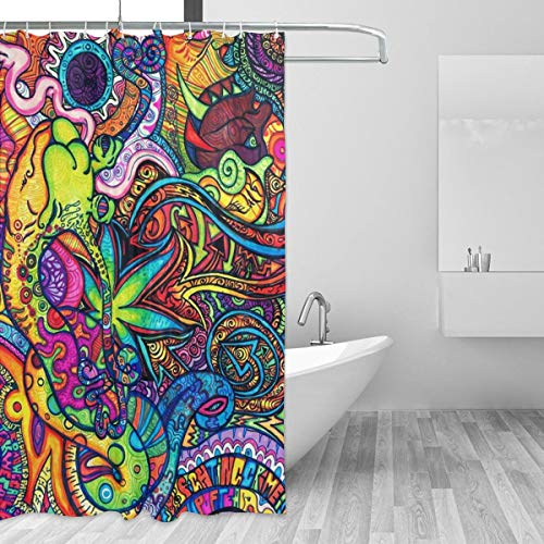 Warm-Tone Art Wallpaper Abyss Shower Curtain Stylish and Individual Bathroom Curtain Decoration with Hooks - 66x72 Inches]()