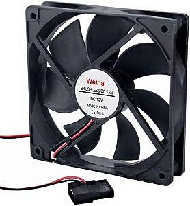 Wathai 120mm Fan 120mm x 25mm 4Pin 12V DC Brushless Computer Case Cooling Fan