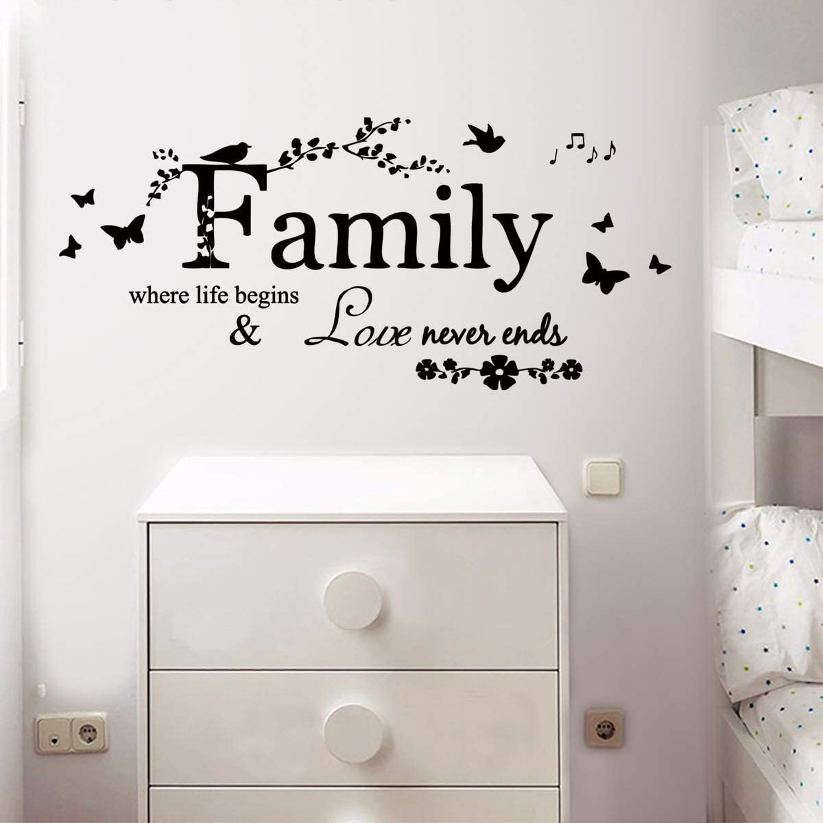 MEFOSS Family Quote Wall Decal Quotes Wall Saying Stickers Home Decorations Removable Inspirational Stickers Wall Decor Art for Living Room Bedroom