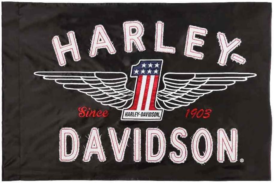 Harley-Davidson Embroidered Frayed Estate Winged #1 Flag, 3 x 5 ft. Black 124917