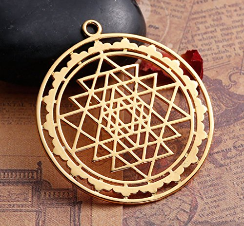 Sri Yantra Yantram Kavach Pendant 1.75 Inch - Unique - Energized Gold plated hollowed Sri Yantra Pendant Necklace jewelry in High Quality finish - US Seller