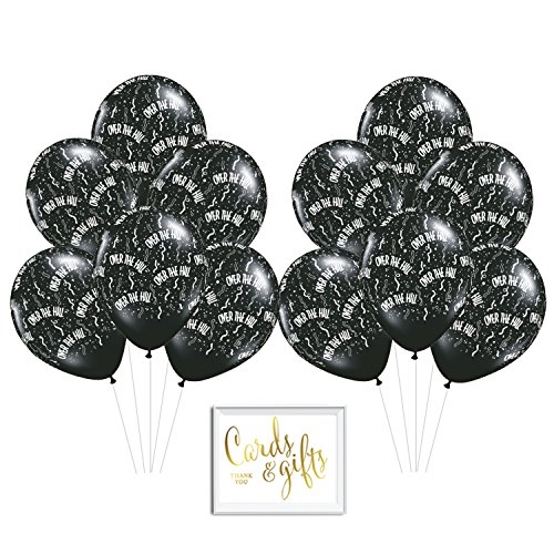h Quality Latex Balloon Party Kit with Gold Cards & Gifts Sign, Over the Hill Black Milestone 50th 55th 60th 65th 70th Birthday Printed 11-inch Balloons, Wholesale 50-Pack (Hill Latex Balloons)