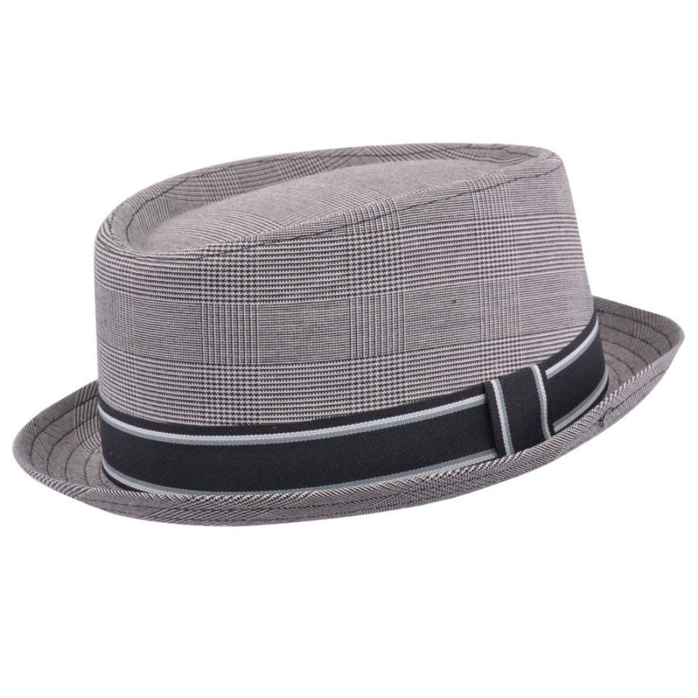 New Grey Pork Pie HAT with A Striped Band