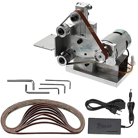 KKmoon Amoladora Multifuncional Mini Lijadora de Correa, Eléctrica Bricolaje Pulido Máquina de Molienda Cortador de Bordes Afilador