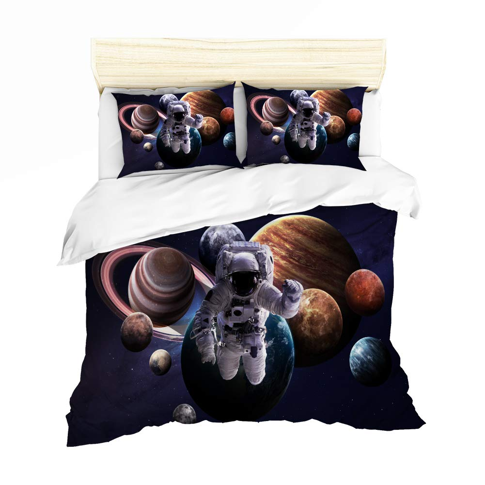 URLINENS Space Astronaut Duvet Cover Set for Kids Boys Twin 3 Piece, 3D Printed Astronaut Leaving The Earth into Outer Space with 9 Planets Image, Decorative Bedding Set with 2 Pillowcase, Blue Brown