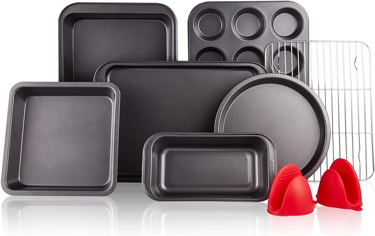 KITESSENSU Baking Pans Sets, Nonstick Bakeware Set 8-Piece with Round/Square Cake Pan, Loaf Pan, Muffin Pan, Cookie Sheet, Roast Pan, Cooling Rack & Silicone Oven Mitts, Carbon Steel Bake Set