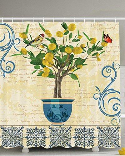 Afagahahs Lemons Decor Lemon Tree Birds Shower Curtain Monarch Butterfly Bird Vintage Style Floral Flowerpot Vase Pattern Bathroom Decor Ivory Yellow Green Blue Navy